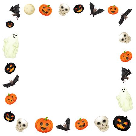 Halloween elements frame on white