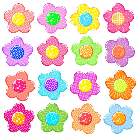 Colorful sticker flower set