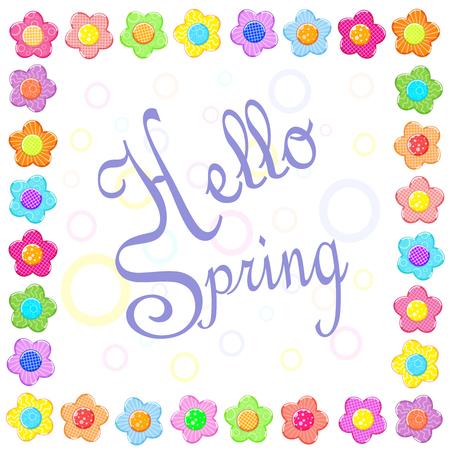 Sticker spring flower set frame