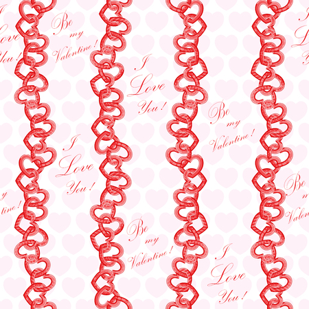Chain with red hearts pattern Фото со стока - 92780759