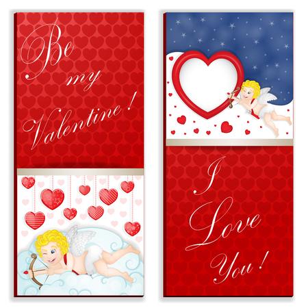 Lustige Herzen in der rote Farbkarte. Standard-Bild - 92731068