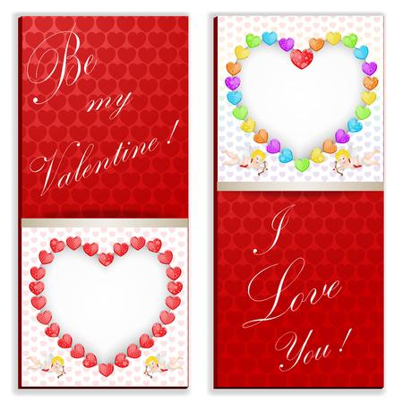 Lustige Herzen in der roten Farbkarte. Standard-Bild - 92731070
