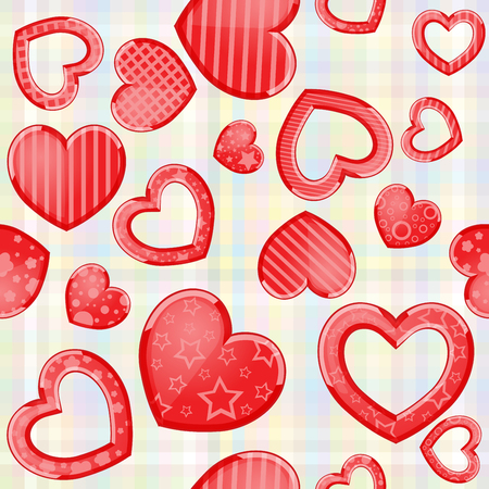 Funny hearts in red color pattern Иллюстрация