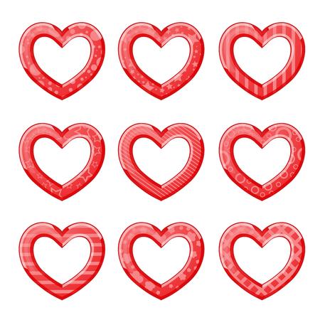 Lustige Herzen in roter Farbe Standard-Bild - 92779447