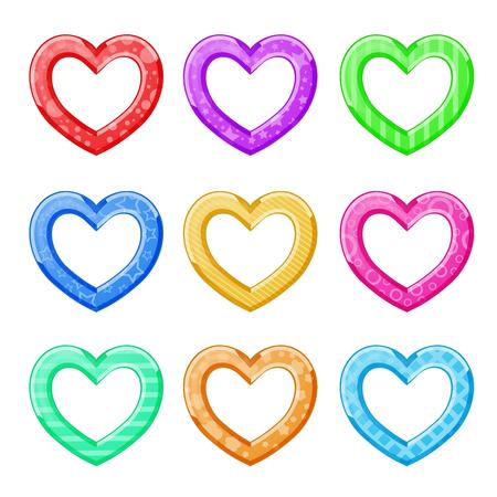 Lustige Herzen mehrfarbig auf weiß Standard-Bild - 92779444