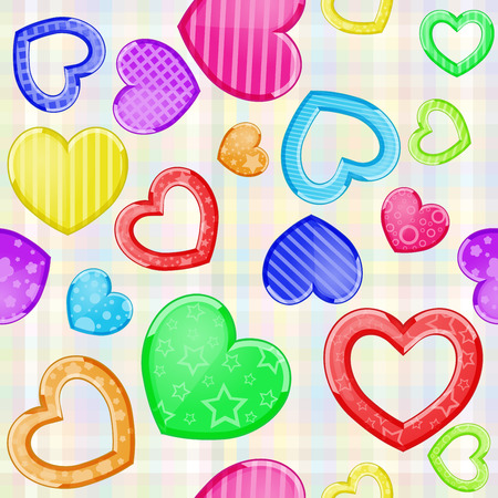 Multicolored funny hearts pattern