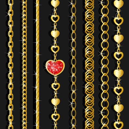 Set goldene Ketten Standard-Bild - 92850468