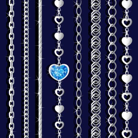 Set aus Silberketten Standard-Bild - 92850593