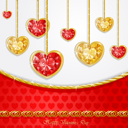 Diamond heart with golden chains card Vector illustration.