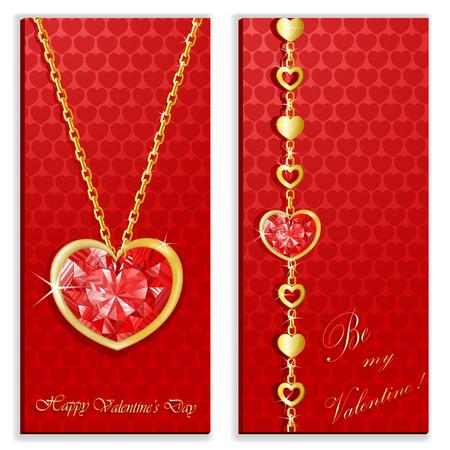 Diamant Herz mit goldenen Ketten Karte Standard-Bild - 92988984