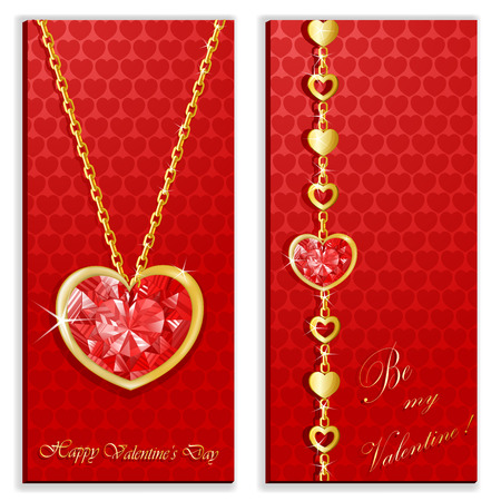 Diamond heart with golden chains card