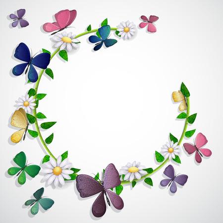 Schmetterlinge Karte über Blätter und Blumen Hintergrund Standard-Bild - 94385273