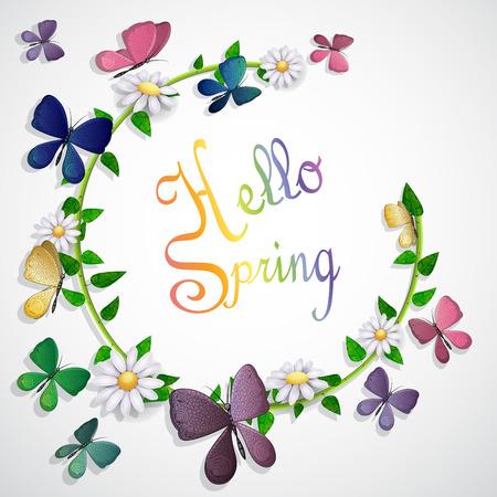 Schmetterlinge Karte über Blätter und Blumen Hintergrund Standard-Bild - 94385275