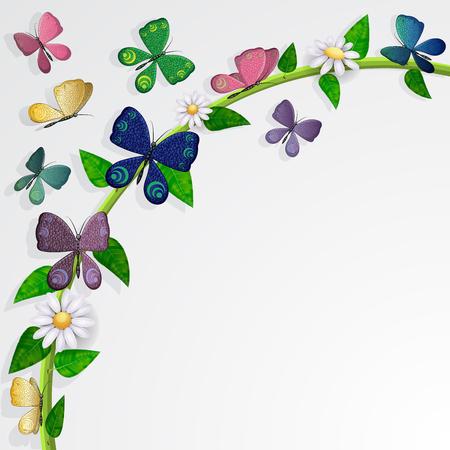 Schmetterlinge Karte über Blätter und Blumen Hintergrund Standard-Bild - 94385276