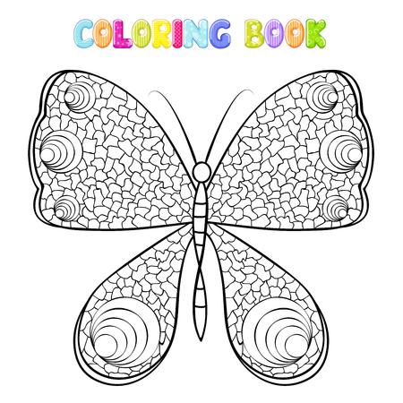 Färbung Schmetterling auf weiß Standard-Bild - 94386686