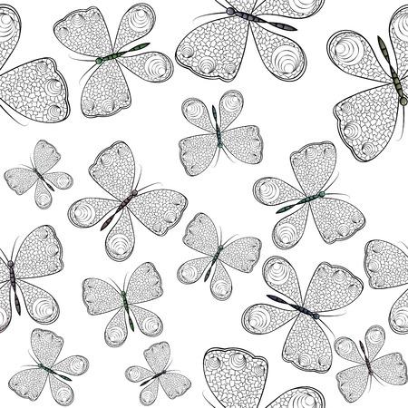 Nahtloses Muster mit schwarzen und weißen Schmetterlingen Standard-Bild - 94385277