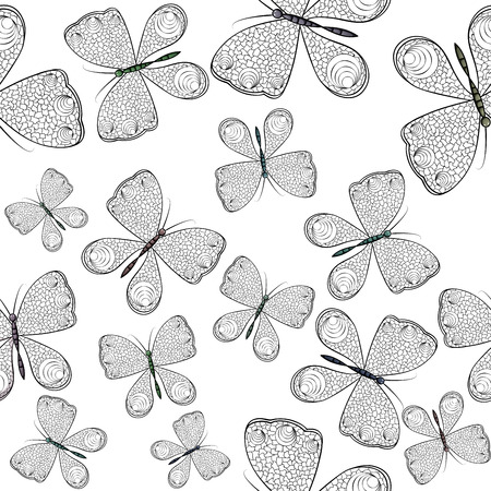 Seamless pattern with black and white butterflies Фото со стока - 94385277