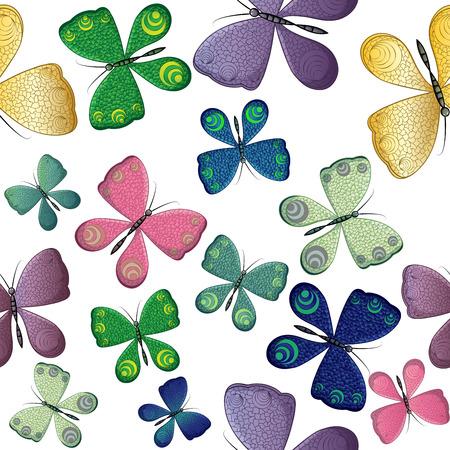 Nahtloses Muster mit bunten Schmetterlingen Standard-Bild - 94381123