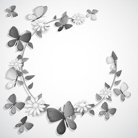 Weiße und schwarze Schmetterlinge Karte mit Platz für Text Standard-Bild - 94386217