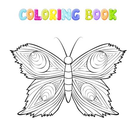 Färbung Schmetterling auf weiß Standard-Bild - 98166318