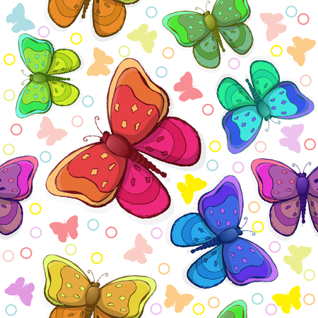 Seamless pattern with colorful butterflies Vector illustration. Фото со стока - 98105901