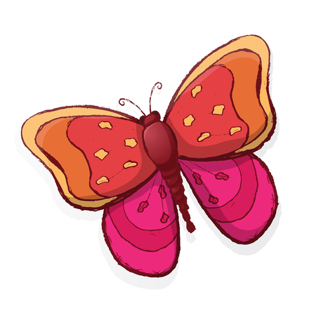 Colored butterfly isolated on white background. Vector illustration. Иллюстрация