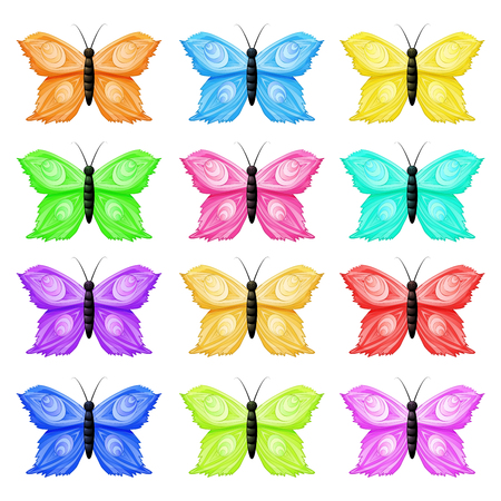 Seamless pattern with colorful butterflies Vector illustration.