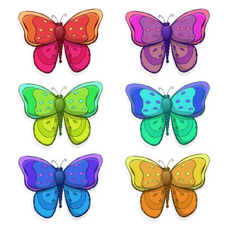 Nahtloses Muster mit bunten Schmetterlingen Vektor-Illustration Standard-Bild - 98105905