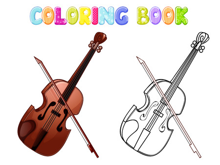 Coloring violin isolated on white. Vector illustration.