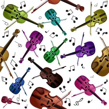 Colorful seamless pattern with violins on a white background Иллюстрация