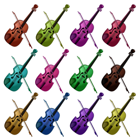 Set of multicolored violins on white background. Ilustracja