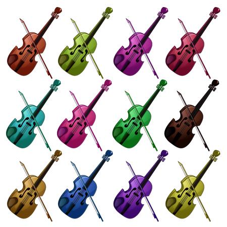 Set of multicolored violins on white background. Illustration