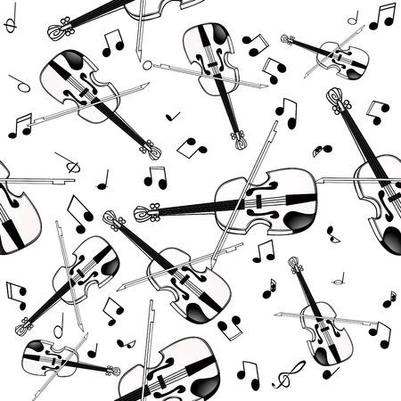 Nahtloses Muster mit Violine auf weißem Hintergrund Standard-Bild - 98412478