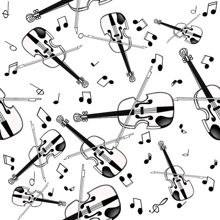 Seamless pattern with violin on white background. Ilustracja