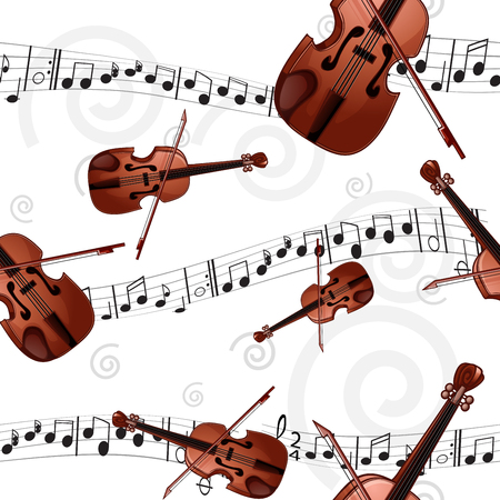 Seamless pattern with violin and musical notes.