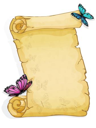 Pergament mit Schmetterling isoliert auf weißem Hintergrund Standard-Bild - 98784345