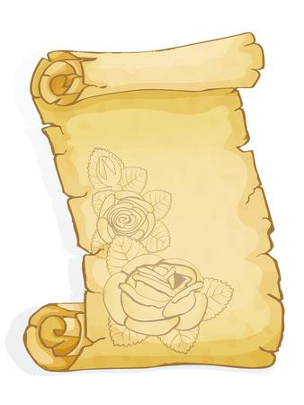 Pergament mit grafischen Rosen isoliert auf weiß Standard-Bild - 98783690