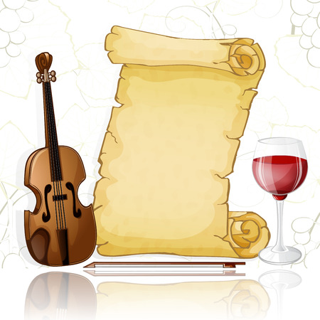 Parchment with violin and wine on white background. Фото со стока - 98828376