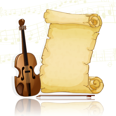 Parchment with violin over musical background