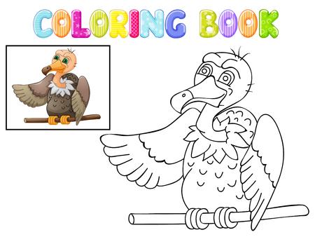 Färbung niedlichen Geier Cartoon isoliert auf weiß Standard-Bild - 99445850
