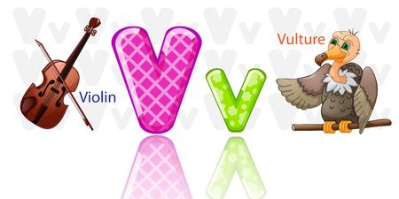 Illustration of letter V alphabet.