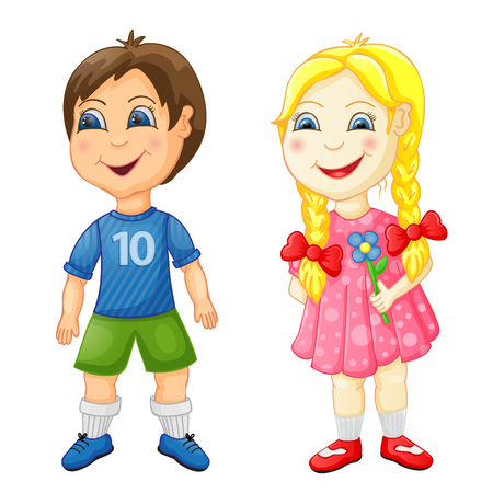 Preschool boy and girl isolated on white Фото со стока - 106587888
