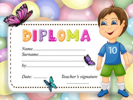 Preschool happy boy diploma