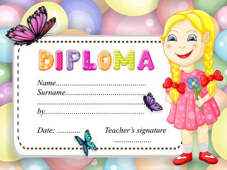 Preschool happy girl diploma
