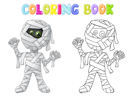 Coloring spooky mummy for Halloween Standard-Bild - 109727766