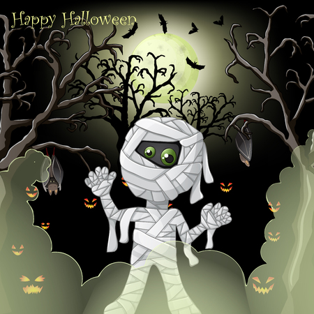 Halloween card with spooky mummy