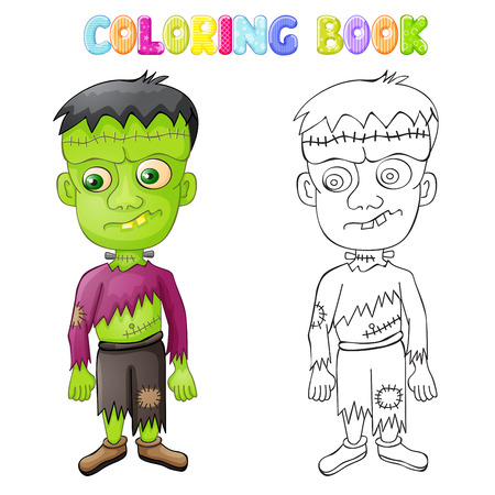Coloring spooky Frankenstein for Halloween