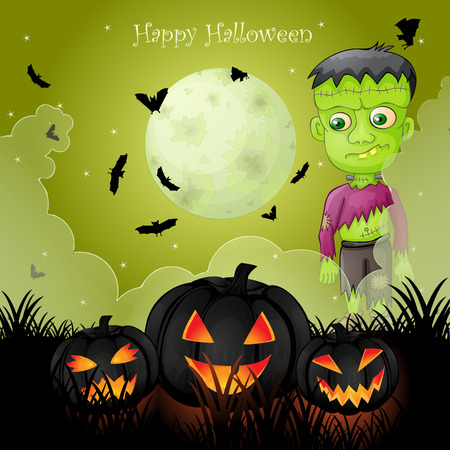 Halloween card with spooky Frankenstein Фото со стока - 106963336
