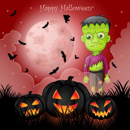 Halloween card with spooky Frankenstein