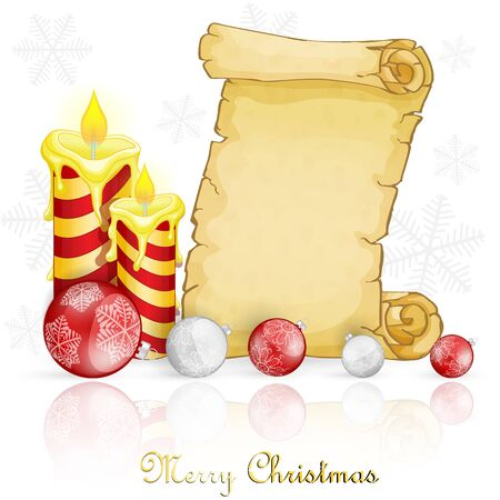 Christmas card with decoration and parchment Ilustracja